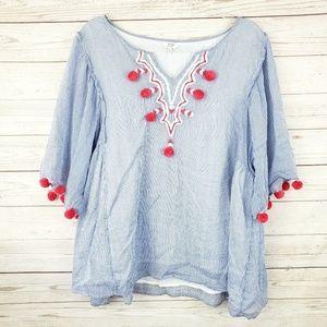 crown & ivy Blue Striped Pom Pom Embroidered Top